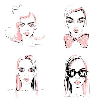 Ilustracja moda. wektor zestaw dziewcząt. portret eleganckiej kobiety.