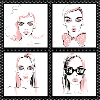 Ilustracja moda. wektor zestaw dziewcząt.