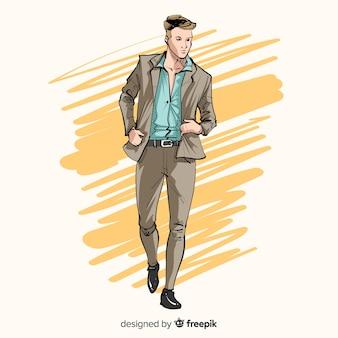 Ilustracja moda z modelu mężczyzna
