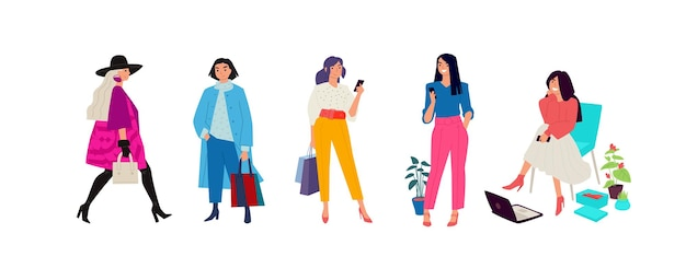 Ilustracja modnych dziewczyn