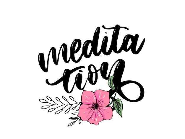 Ilustracją mojej terapii jest medytacja. plakat z napisami do studia jogi i zajęć medytacyjnych.