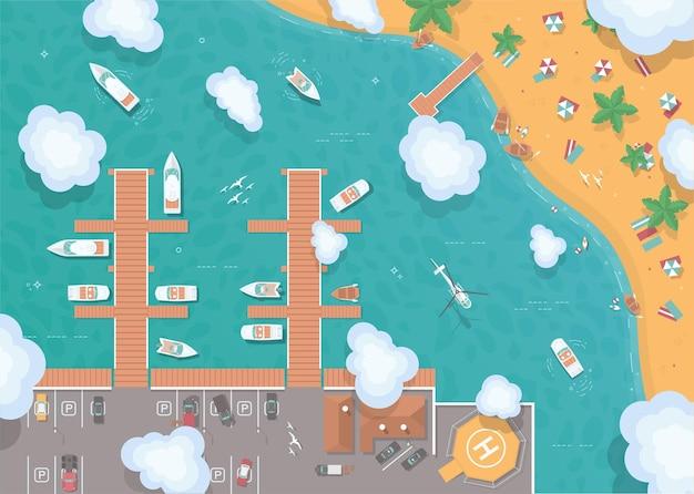 Ilustracja Molo W Stylu Płaski Premium Wektorów