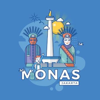 Ilustracja monas dżakarta, punkt orientacyjny indonezji