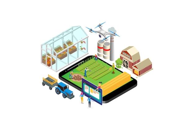 Ilustracja monitoringu nowoczesnej technologii rolnictwa izometrycznego