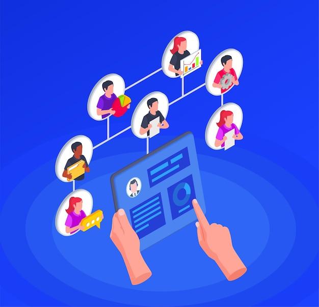 Ilustracja monitorująca charakter pracy pracowników