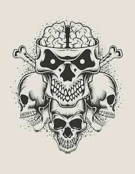 Ilustracja monochromatyczny styl głowy czaszki