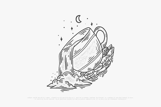 Ilustracja monoline kawy