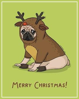 Ilustracja mops kartka świąteczna w stroju jelenia