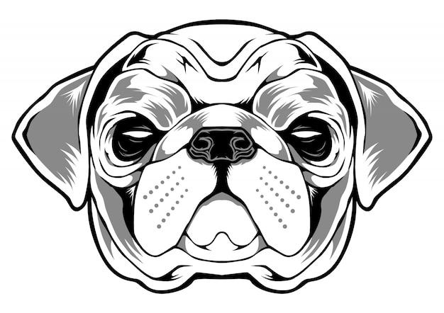 Ilustracja mops pies