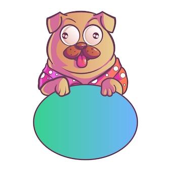 Ilustracja mopsa pies.