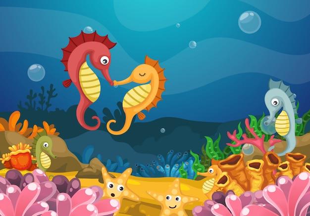 Ilustracja morze pod wodą
