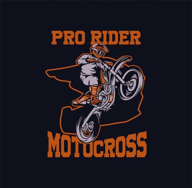 Ilustracja motocross pro jeździec