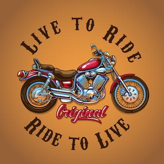Ilustracja motocykl do druku koszulki