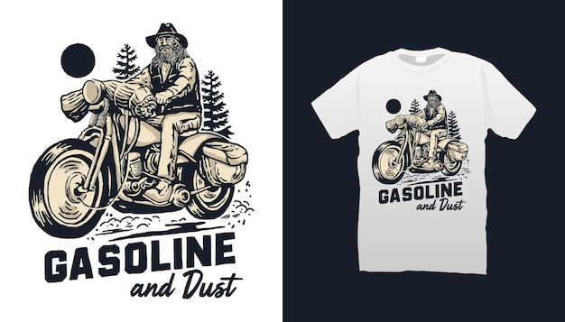 Ilustracja motocykla benzyny i pyłu