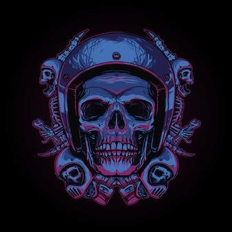 Ilustracja motocyklista czaszki