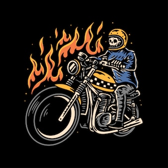 Ilustracja motocyklistów czaszki