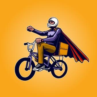 Ilustracja motocyklisty w kasku ochronnym bmx