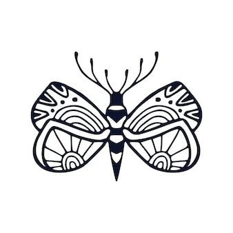 Ilustracja motyle w ozdobnym stylu na projekt tatuażu lub t-shirt. dziecięcy nadruk wnętrza z ręcznie rysowanym czarno-białym motylem