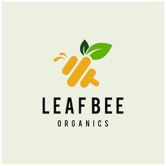 Ilustracja mucha pszczoła ze swoimi skrzydłami natura pozostawia znak streszczenie nowoczesny szablon logo