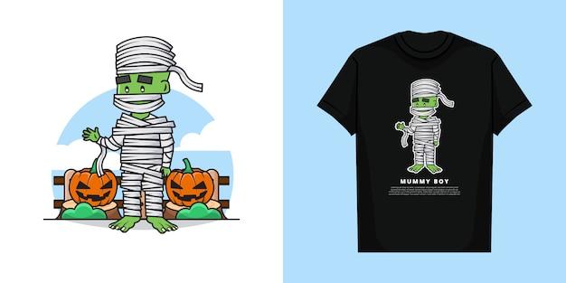 Ilustracja mumia chłopca z projektem koszulki
