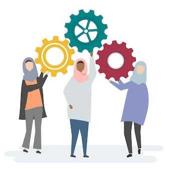 Ilustracja muzułmańskich kobiet charaktery z cogwheels
