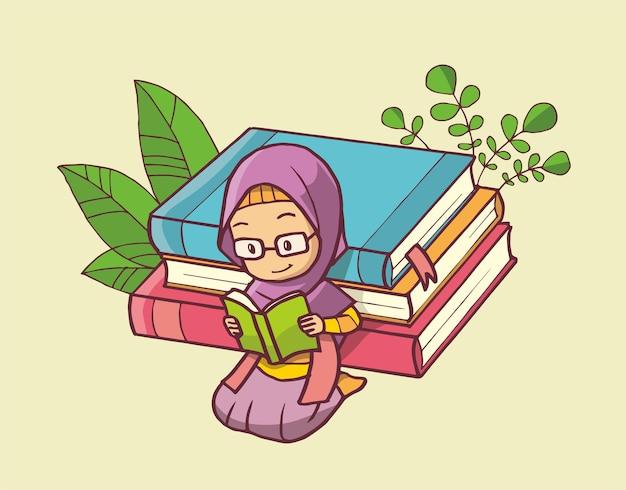Ilustracja muzułmańskiej dziewczyny czytającej książkę na stosie książek. ręcznie rysowana sztuka