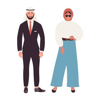 Ilustracja muzułmańskiej pary osób