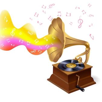Ilustracja muzyczny gramofon