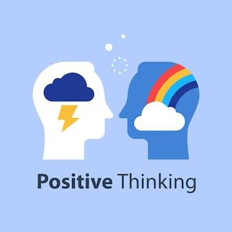 Ilustracja myślenia pozytywnego lub negatywnego