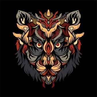 Ilustracja myśliwy tygrys ruma