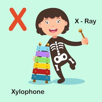 Ilustracja na białym tle alfabet litery x ray ksylofon