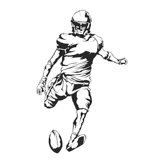 Ilustracja na białym tle amerykański piłkarz