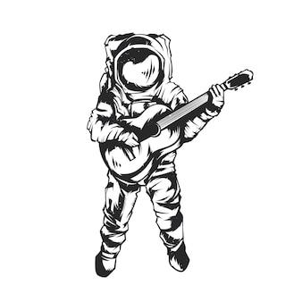 Ilustracja na białym tle astronauta z gitarą