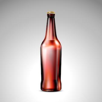 Ilustracja na białym tle brązowej szklanej butelki