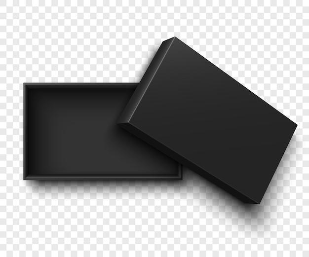 Ilustracja na białym tle czarne otwarte pudełko
