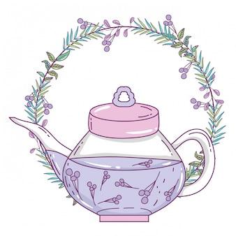 Ilustracja na białym tle dzbanek do herbaty