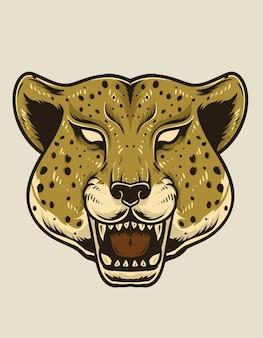 Ilustracja na białym tle głowy geparda