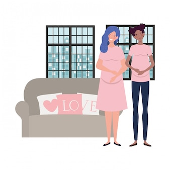 Ilustracja na białym tle kobiet w ciąży