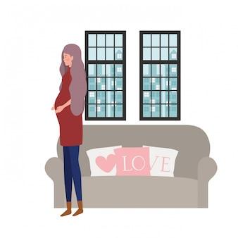 Ilustracja na białym tle kobiety w ciąży