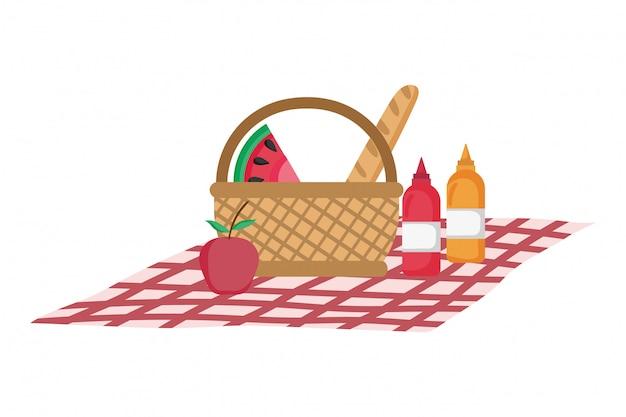 Ilustracja na białym tle kosz piknikowy