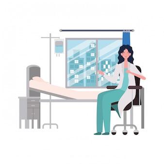 Ilustracja na białym tle lekarka