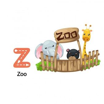 Ilustracja na białym tle list alfabetu z-zoo