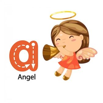 Ilustracja na białym tle lista alfabetu a-angel