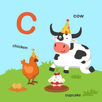 Ilustracja na białym tle litera alfabetu c