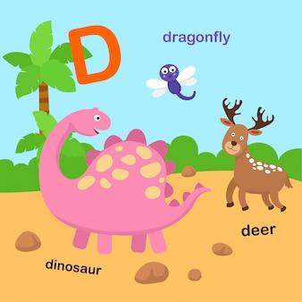 Ilustracja na białym tle litera alfabetu d