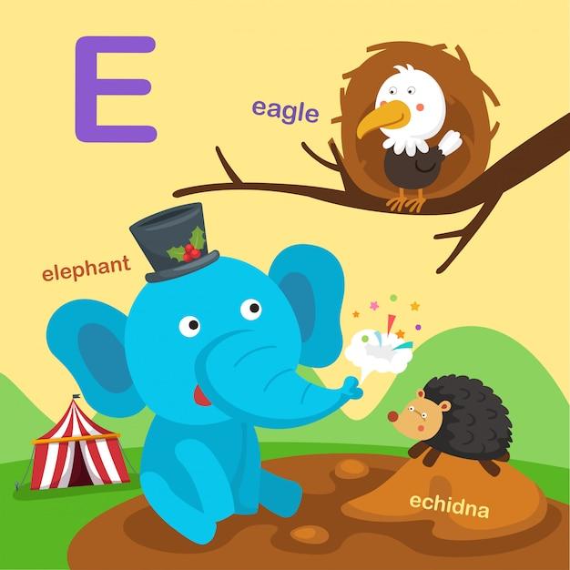 Ilustracja na białym tle litera alfabetu e.