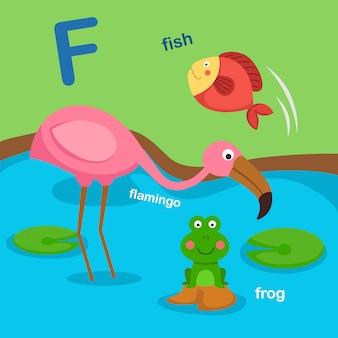 Ilustracja na białym tle litera alfabetu f.