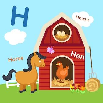 Ilustracja na białym tle litera alfabetu h.
