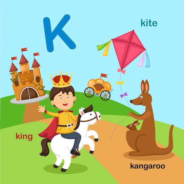 Ilustracja na białym tle litera alfabetu k.