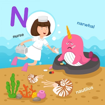 Ilustracja na białym tle litera alfabetu n.